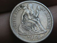 1886 SEATED LIBERTY DIME- EXTRA FINE /AU OBVERSE DETAILS