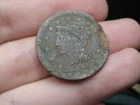 1852 BRAIDED HAIR LARGE CENT PENNY- UNDERGROUND/ METAL DETECTOR FIND