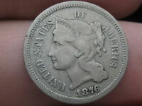 1876 THREE 3 CENT NICKEL-  KEY DATE- FINE DETAILS- FULL RIMS