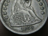 1859 O SEATED LIBERTY SILVER DIME- EXTRA FINE /AU DETAILS