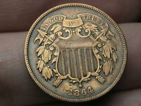 1864 TWO 2 CENT PIECE- LARGE MOTTO, VF/EXTRA FINE  DETAILS, WE VISIBLE