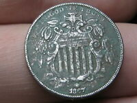 1867 SHIELD NICKEL 5 CENT PIECE- NO RAYS, VF DETAILS