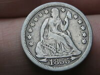 1855 SEATED LIBERTY SILVER DIME- WITH ARROWS, VF DETAILS