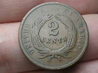 1865 TWO 2 CENT PIECE- CIVIL WAR TYPE COIN- PLAIN 5, VG DETAILS