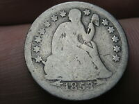 1853 O SEATED LIBERTY SILVER DIME- F-104A, SHATTERED OBVERSE, LARGE O