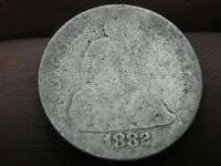 1882 SEATED LIBERTY SILVER DIME- HEAVILY WORN, LOWBALL