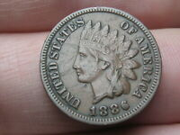 1886 INDIAN HEAD CENT PENNY, VARIETY 1, VAR 1, T1, TYPE 1- VF/EXTRA FINE  DETAILS