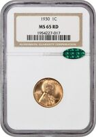 1930 1C NGC/CAC MINT STATE 65 RD - LINCOLN CENT