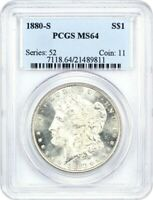 1880-S $1 PCGS MINT STATE 64 - MORGAN SILVER DOLLAR