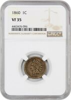1860 1C NGC VF35 ROUND BUST INDIAN CENT
