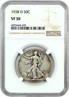 1938-D 50C NGC VF30 - LOW MINTAGE ISSUE - WALKING LIBERTY HALF DOLLAR