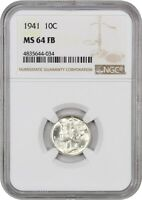 1941 10C NGC MINT STATE 64 FB
