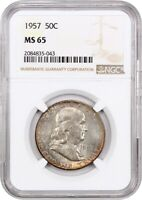 1957 50C NGC MINT STATE 65 - FRANKLIN HALF DOLLAR