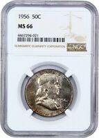 1956 50C NGC MINT STATE 66 - FRANKLIN HALF DOLLAR