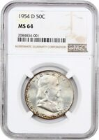 1954-D 50C NGC MINT STATE 64 - FRANKLIN HALF DOLLAR