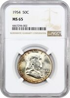 1954 50C NGC MINT STATE 65 - FRANKLIN HALF DOLLAR
