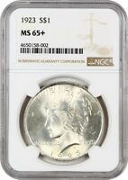 1923 $1 NGC MINT STATE 65 - PEACE SILVER DOLLAR