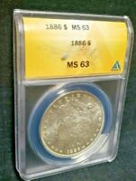 1886 MORGAN SILVER DOLLAR - ANACS GRADED MINT STATE 63 - FAST DELI