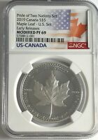 2019 $5 SILVER PRIDE OF TWO NATIONS CANADA NGC PF69 ER CANADIAN MODIFIED PROOF