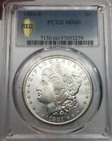 1881-S PCGS MINT STATE 66 MORGAN SILVER DOLLAR BLAST WHITE & GOLD SHIELD VERIFIED
