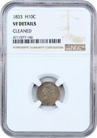 1833 H10C NGC GENUINE VF DETAILS CLEANED - EARLY HALF DIMES