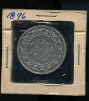 1896 SMALL W  NEWFOUNDLAND 50 CENTS VG DSP17