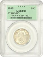 1916 STANDING LIBERTY 25C PCGS MINT STATE 63 FH OGH FAMOUS KEY DATE RARITY