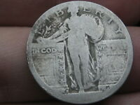1917 S -1924 S SILVER STANDING LIBERTY QUARTER, RAISED DATE, TYPE 2