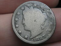 1887 LIBERTY HEAD V NICKEL 5 CENT PIECE- FULL DATE, GOOD DETAILS