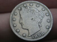 1898 LIBERTY HEAD V NICKEL 5 CENT PIECE- FINE/VF DETAILS