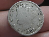 1908 LIBERTY HEAD V NICKEL- VG/FINE DETAILS, FULL DATE, CLIPPED PLANCHET?