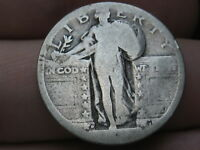 1917 D -1924 D SILVER STANDING LIBERTY QUARTER, RAISED DATE, TYPE 2
