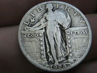 1928 P SILVER STANDING LIBERTY QUARTER, VG/FINE DETAILS, FULL DATE