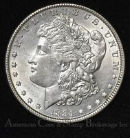 $1 ONE DOLLAR 1884 P UNC BU VAM4 R4 MORGAN DOLLAR - UNUSUAL DOT ON TRUNCATION