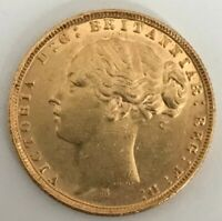 1876 FULL GOLD SOVEREIGN YOUNG HEAD VICTORIA 22CT COIN