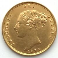 1872 HALF 1/2 SOVEREIGN SOLID 22CT GOLD COIN DIE 106 YOUNG H