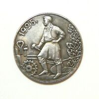 ONE RUBLE 1925   SOVIET UNION   USSR   LENIN   STALIN   EXONUMIA SILVERED COIN