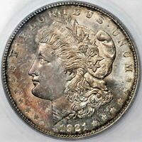 1921 D MORGAN DOLLAR SILVER COIN ICG MINT STATE 64 TONED CHOICE GEM BU