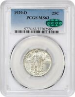 1929-D 25C PCGS/CAC MINT STATE 63 - STANDING LIBERTY QUARTER