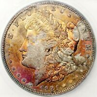 1921 D MORGAN DOLLAR SILVER COIN ICG MINT STATE 65 RAINBOW TONED GEM BU UNC