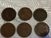 CHINA ONE CASH COINS X 6  DATES UNKNOWN