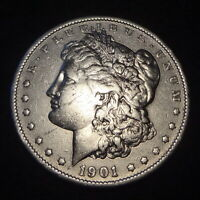 1901 P MORGAN SILVER DOLLAR - CHOICE VF DETAILS FROM THE PHILADELPHIA MINT