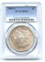 1882-S $1 PCGS MINT STATE 62- MORGAN DOLLAR//