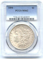 1890 $1 PCGS MINT STATE 62- MORGAN DOLLAR//