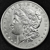 1897-S MORGAN SILVER DOLLAR.  FULL CHEST FEATHER'S.  B.U. INV. A