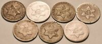 LOT OF  7  THREE CENT SILVERS 1851 O 1852 1853 1851 BETTER T