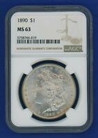 1890 P NGC MINT STATE 63 MORGAN SILVER DOLLAR $1 BETTER DATE 1890-P NGC MINT STATE 63
