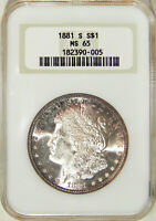 1881-S $1 NGC MINT STATE 65  HIGH-END GEM MORGAN DOLLAR IN OLD FAT HOLDER