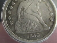 1856 S SEATED LIBERTY SILVER DIME- ICG CERTIFIED, FINE 12 DETAILS