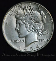 $1 ONE DOLLAR 1934 D AU UNC PEACE $ SILVER STRONG DOUBLING @ DATE VAM? CHOICE